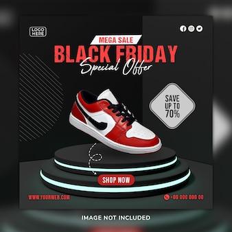 Black friday scarpe social media post e modello di banner web con sfondo 3d