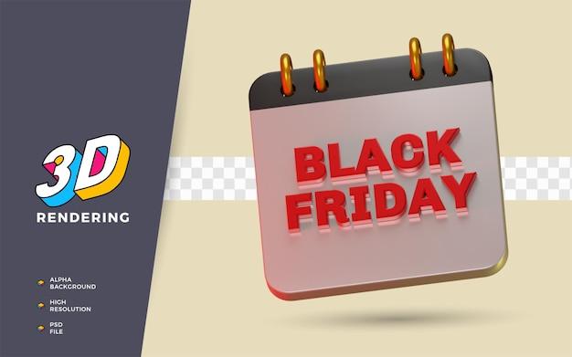 Il venerdì nero lo shopping day sconto flash vendita festival 3d rende l'illustrazione dell'oggetto