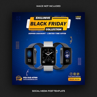 Modello di post sui social media di vendita di black friday smartwatch