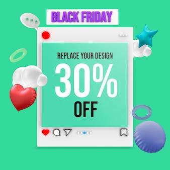 Black friday socail media square mockup design