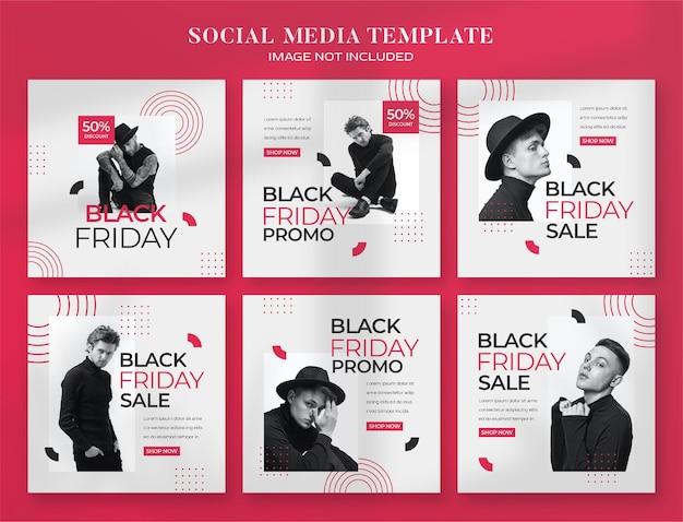 Banner di social media del black friday e modello di post di instagram