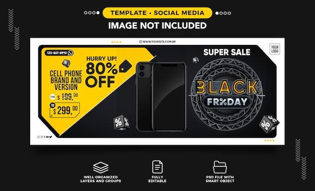 Banner dei social media del black friday super venduto con 80 di sconto