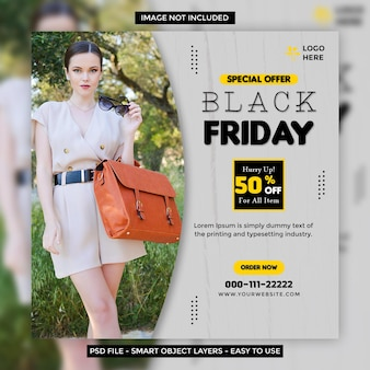 Venerdì nero vendita di offerte speciali banner di social media web