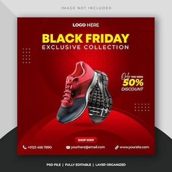 Black friday scarpe sportive vendita social media post e instagram banner modello psd