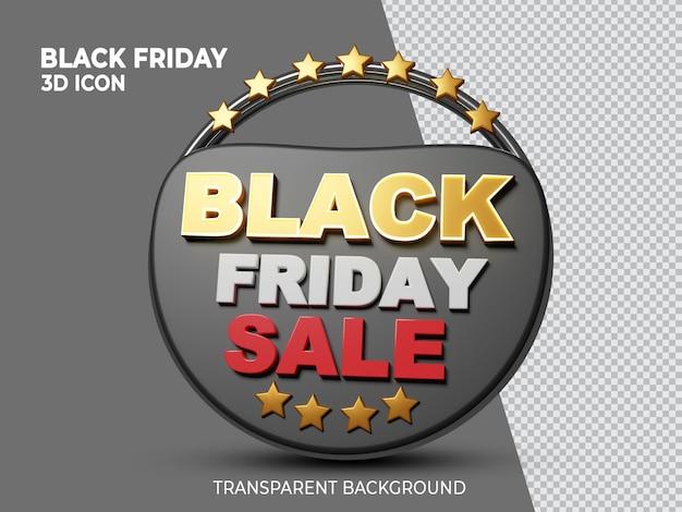 Vista frontale dell'icona resa 3d della super vendita del black friday