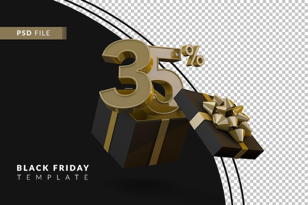 Super vendita del black friday con il 35 percento di numero d'oro e confezione regalo nera e nastro d'oro 3d render