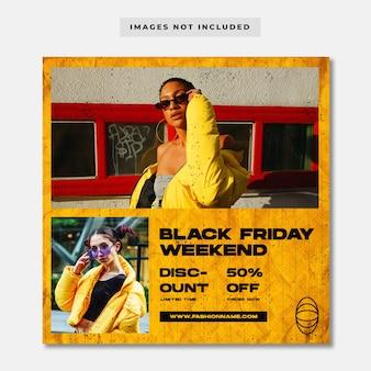 Modello di post sui social media di moda del weekend del black friday