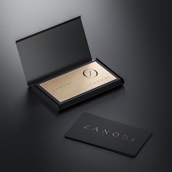 Modello di biglietto da visita nero e oro su sfondo nero per il rendering 3d del marchio
