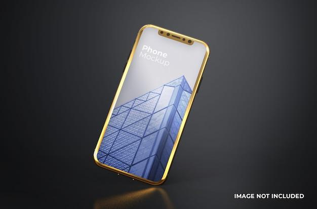 Mockup di smartphone con schermo oro nero