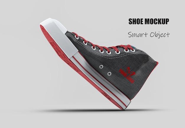 Mockup di scarpa di tela nera alta superiore isolato