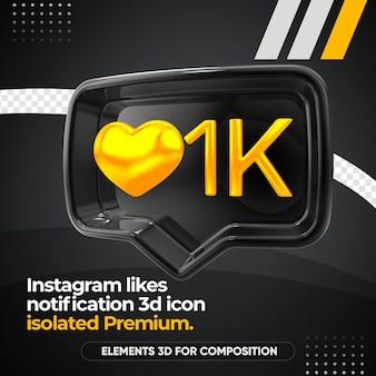 Instagram nero ama l'icona di destra di notifica isolata