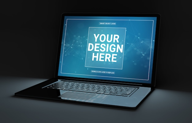 Computer portatile nero in mockup scuro