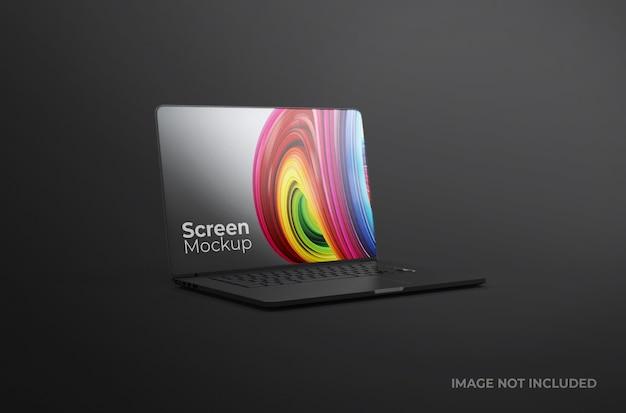 Mockup di argilla dello schermo del computer portatile nero isolato