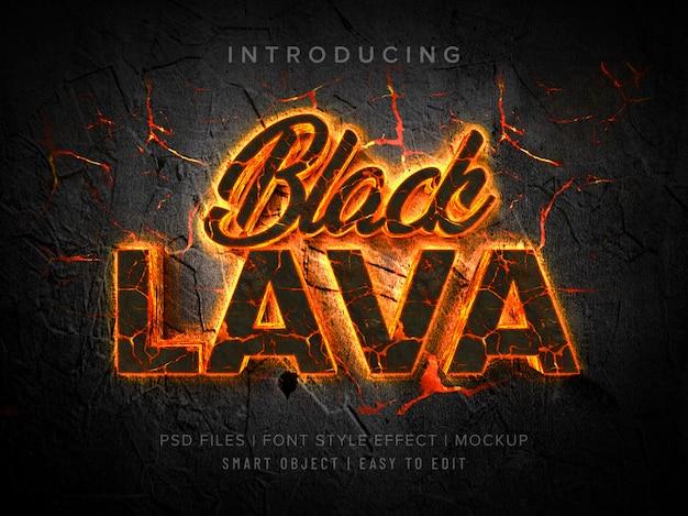 Mockup effetto lava nero stile carattere 3d