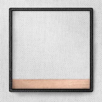 Cornice in pelle nera sull'illustrazione grigia del fondo di struttura del tessuto