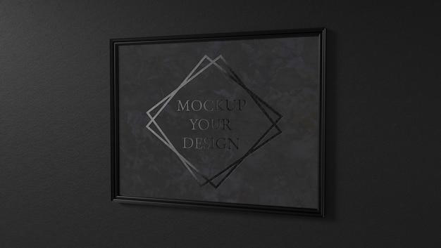Cornice per foto in marmo nero logo mockup