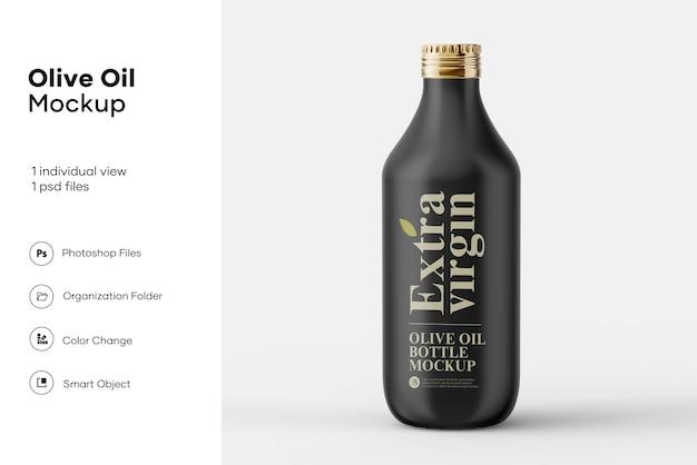Mockup di bottiglia di olio d'oliva nero opaco