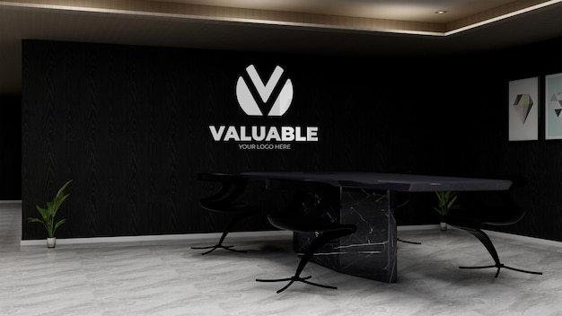 Spazio per riunioni in ufficio nero per il logo della parete del marchio aziendale mockup