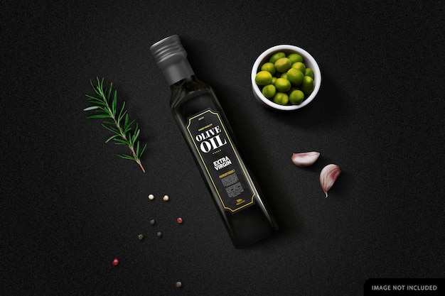 Bottiglia di olio d'oliva nero mockup in sfondo nero