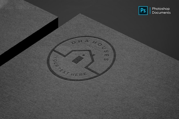 Modello di disegno del modello di logo di carta nera