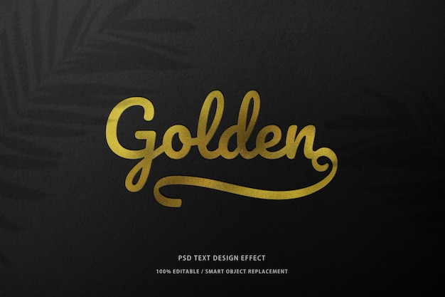 Prototipo di mockup in carta nera con stampa del logo in lamina d'oro