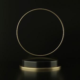 Piedistallo nero con cerchio galleggiante dorato