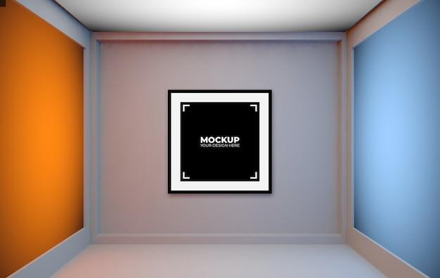 Cornice per foto nera che si appoggia nel mockup interno