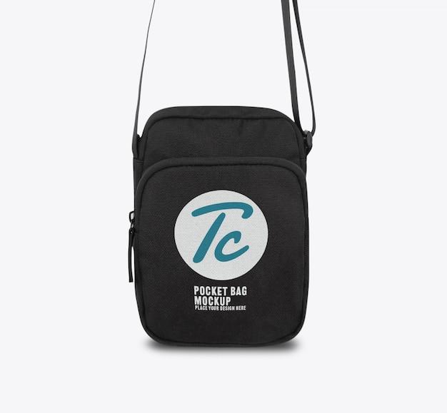 Modello di mockup borsa tascabile nero per il vostro disegno