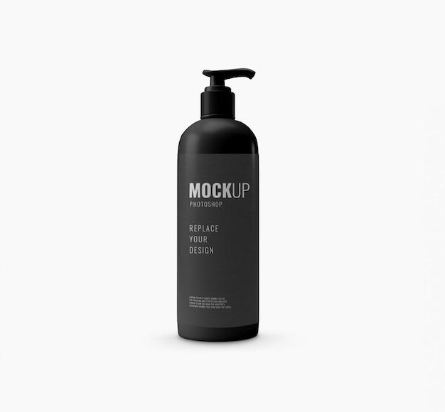 Mockup realistico moderno di bottiglia nera pompa