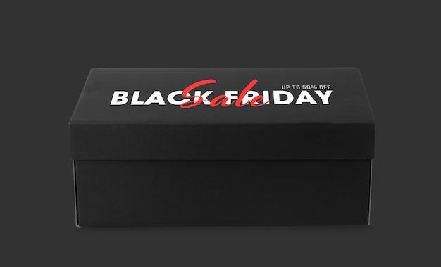 Scatola da scarpe nera con mockup della campagna del venerdì nero