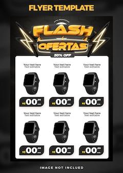 Black social media flash offre promozione flyer template 3d render