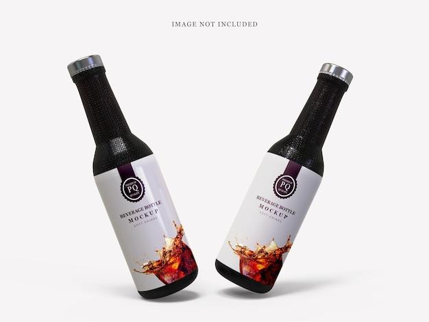 Mockup di bottiglia di vetro per bevande analcoliche nere