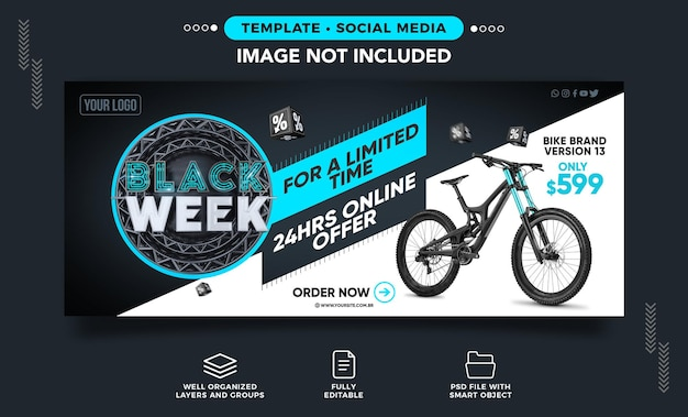 Banner di social media black week bike in offerta a tempo limitato