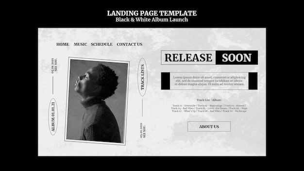 Pagina di destinazione del lancio dell'album in bianco e nero