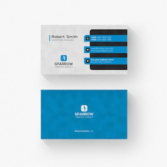 Biglietto da visita in bianco e nero con dettagli blu