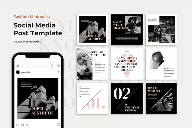 Insieme in bianco e nero del modello della posta di instagram di vendita di modo