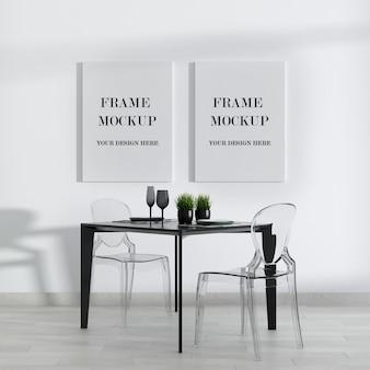 Mockup di cornice in tela doppia camera moderna in bianco e nero