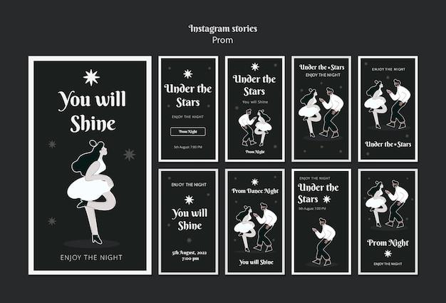 Storie sui social media del ballo di fine anno in bianco e nero