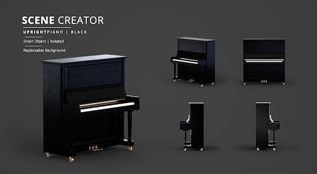 Creatore di scene per pianoforte verticale in legno nero