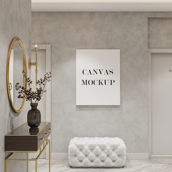 Mockup di tela bianca nel rendering 3d interni moderni