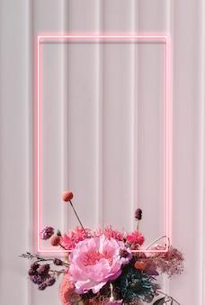 Cornice rettangolare al neon floreale vuota