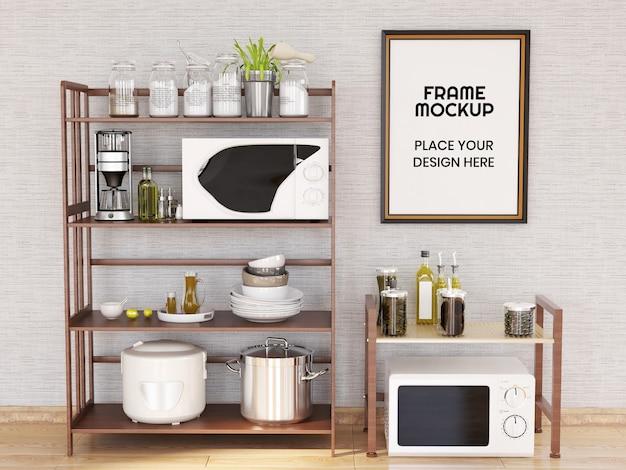 Mockup di cornice per foto in bianco in cucina