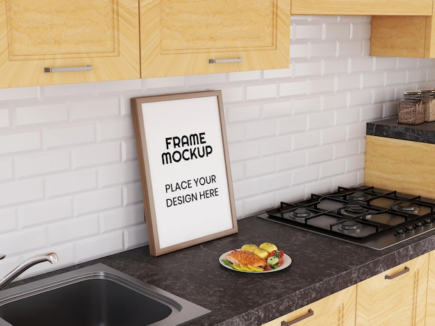 Blank photo frame mockup in cucina