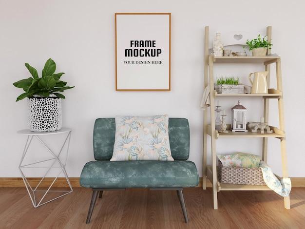 Mockup di cornice per foto vuota nel soggiorno