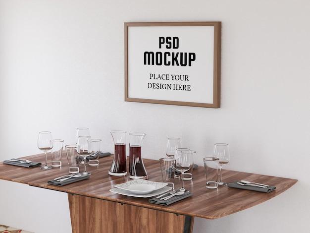 Mockup di cornice per foto in bianco realistico in cucina