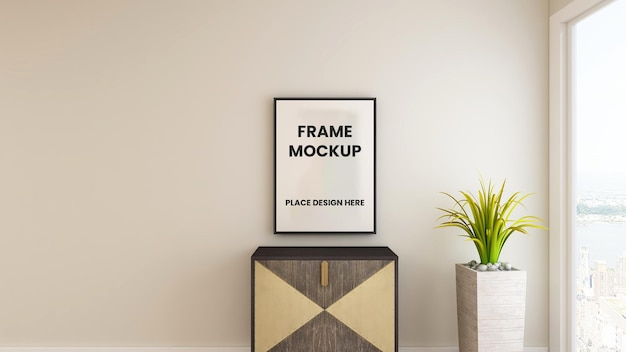 Design mockup poster cornice foto vuota nel design degli interni