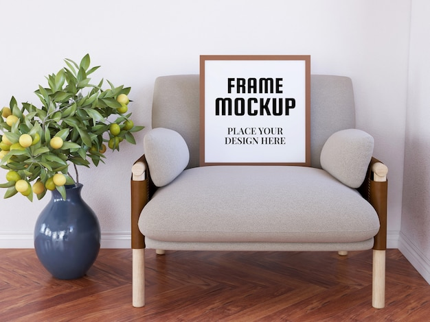 Mockup realistico cornice foto vuota sulla sedia