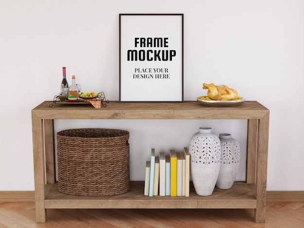 Mockup realistico cornice foto vuota sulla scrivania