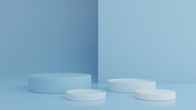 Supporto in bianco del prodotto sul rendering 3d pastello