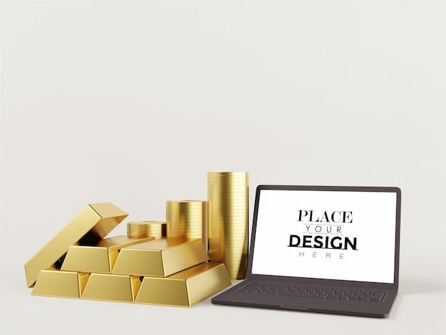 Computer portatile con schermo vuoto con lingotti d'oro